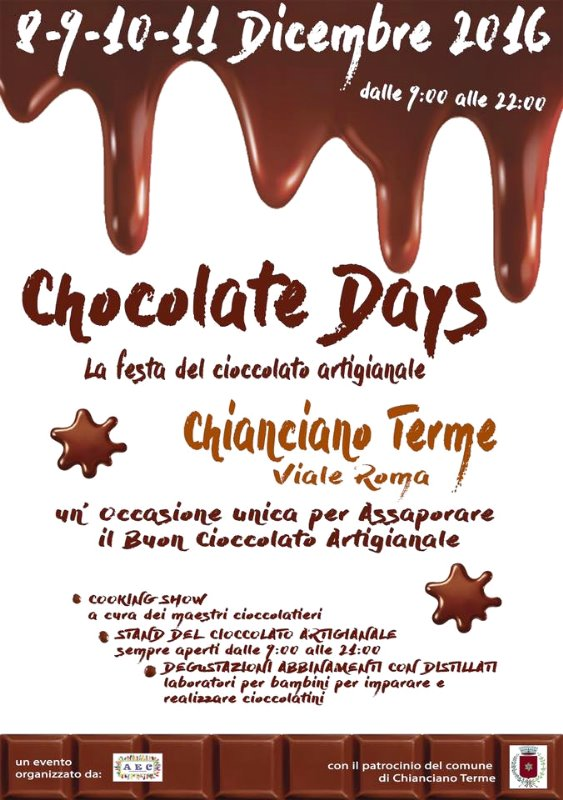 Chocolate Days la grande festa del Cioccolato a Chianciano Terme 8-11 dicembre